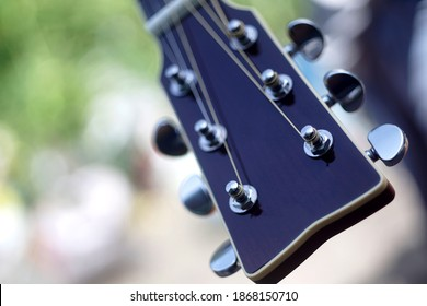 close up of guitar heads and tunings pegs