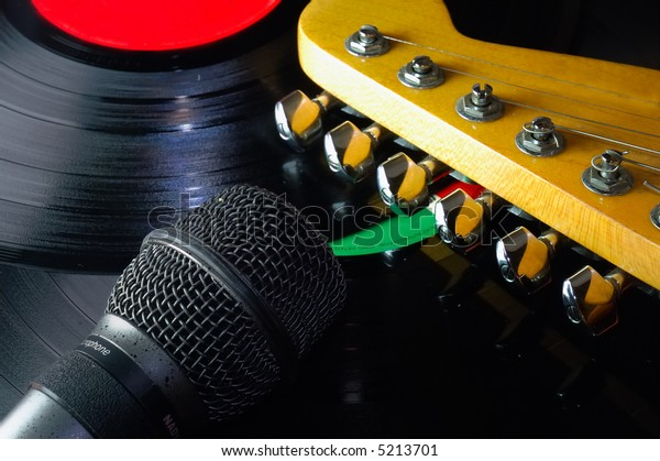 close up of Guitar, Lp And Microphone