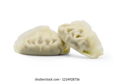 close up gyoza dumplings isolate over white background
