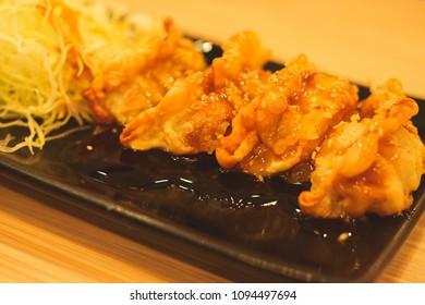 Close up gyoza on plate