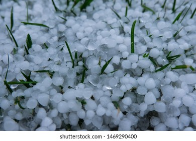 Close up of hailstones and grass.