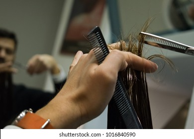 Close up of hair treatment at hair salon.