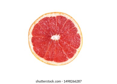 Close up at half cut of grapefruit(Citrus × paradisi) isolate on white background.Have a lot of vitamin C and antioxidants.Sweet and sour taste.Fruit,food or diet concept.