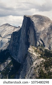 Close up of Half Dome peak with hikers on top