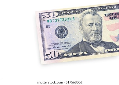 Close up of half fifty dollar isolate on white background with clipping path.