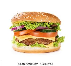 Close up of hamburger, cheeseburger isolated on white background