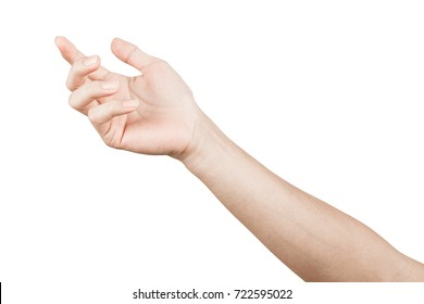 Close up Hand and arm  on white  background With clipping path. Can use for isolated or Show your product.