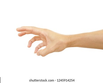 close up hand of Asian man in gestures at show is symbol gesture isolated on white background