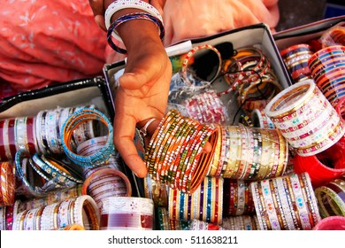 Close up of hand with bangels, Sadar Market, Jodhpur, Rajasthan, India