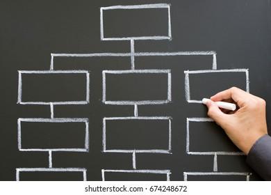 Close up of hand drawing organization chart on chalkboard