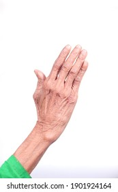 close up of hand of a elderly person isolated on white