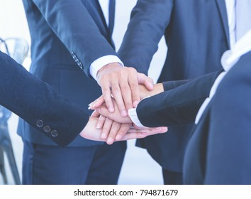 Close up hand group,Concept Business teamwork success