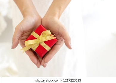 Close up hand of hands woman holding present a small red gift box wrapped with golden ribbon package in the palms. copy space for text you. celebrate happiness,Sacrificing,Volunteer donation concept