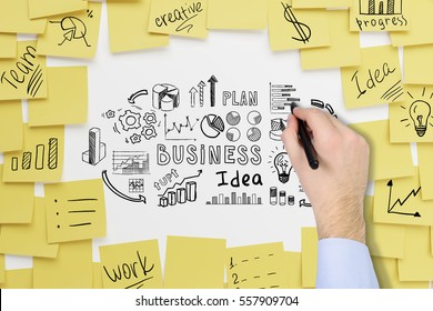Close up of a businessman�¢â?¬â?¢s hand. He is drawing a business idea sketch on a whiteboard covered by yellow sticky notes.