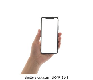 close up hand hold phone isolated on white, mock-up smartphone white color blank screen