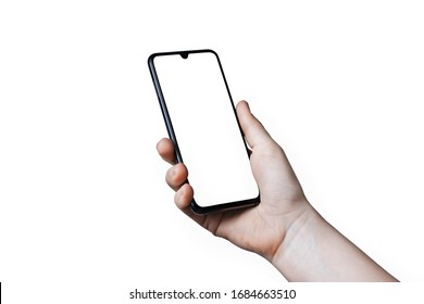 Close up hand hold phone isolated on white. Mock-up smartphone with white color screen