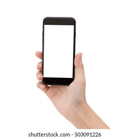 close up hand hold phone isolated on white, smartphone matte black color blank screen