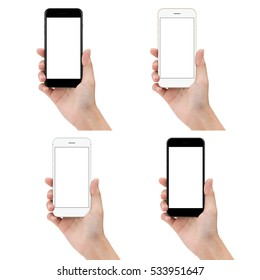 close up hand hold phone isolated on white background, mock-ups new smartphone blank screen