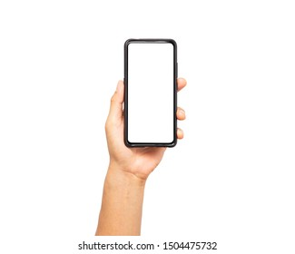 close up hand hold smartphone isolated on white background. man hand holding smartphone device and touching screen.