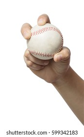 Close up hand holding a baseball on white background. File contains a clipping path