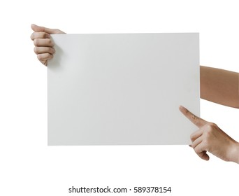 Close up hand holding blank white paper card on white background. File contains a clipping path