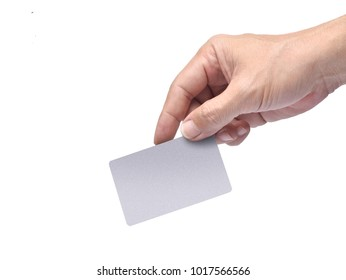 Close up of hand holding empty silver credit card isolated on white background