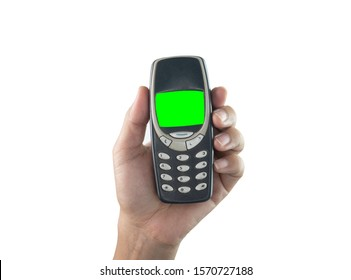 Close up of Hand holding mobile phone isolated on white background.