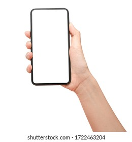 Close up hand holding phone isolated on white background with clipping path. Can use for show your media.