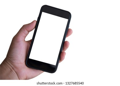 Close up Hand holding phone on  white background.with clipping path.