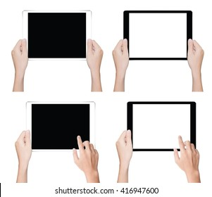 close up hand holding tablet isolated white clipping path inside data