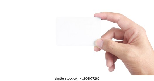 Close up of hand holding virtual card with. Credit card in hand isolated