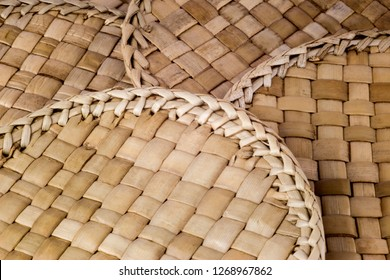 Close up of hand made rattan coasters or drinks mats