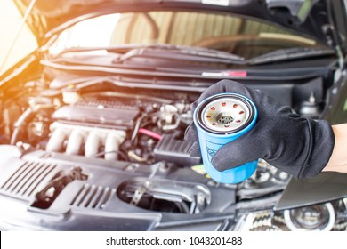 Close up hand a man put oil filter for car maintenance concept in engine room
