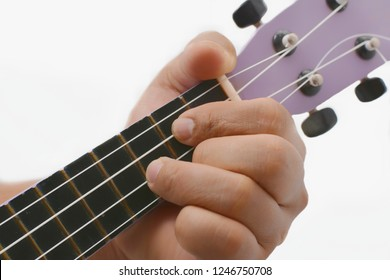 Close up hand playing ukulele with G major chord. isolated on white background,  copy space for text or objects.