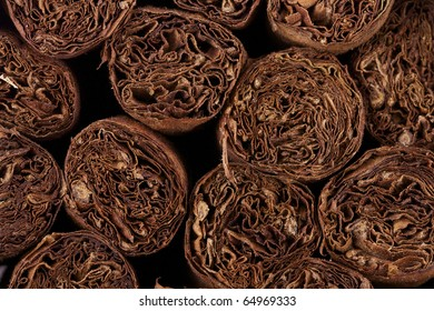 close up of hand rolled cuban cigars
