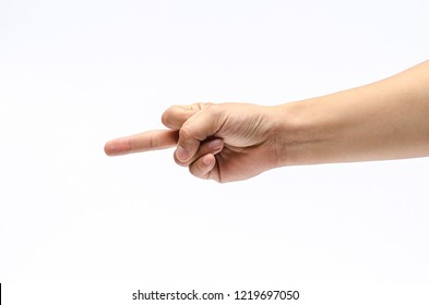 Close up of hand with show middle finger, Offensive gesture, outrageous and contempt fuck you hand gesture.  Negative concept. Isolated on white background, place for text or sign.