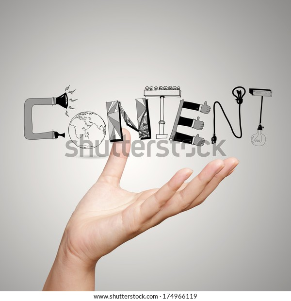 close up of hand showing design word CONTENT as concept