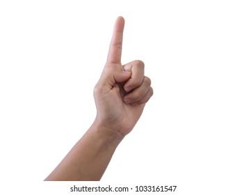 Close up hand symbol on white background.