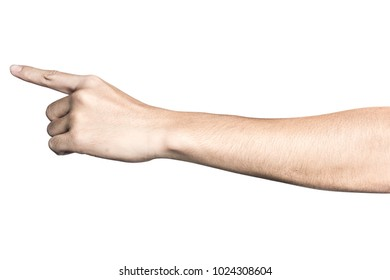 Close up hand touching or pointing to something isolated on white background with clipping path.