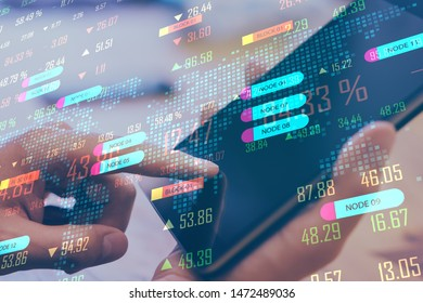 Close up of hand using touchpad with digital big data interface. Technology, programming and software concept. Double exposure