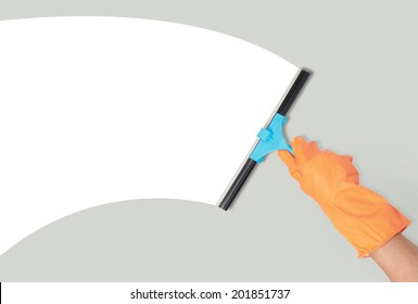 close up of hand with window cleaning tool