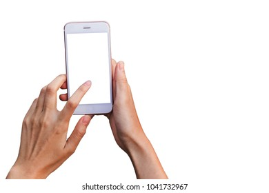 close up hand Woman hold phone isolated on white, mock-up smartphone white color blank screen