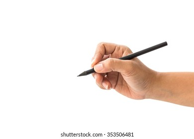 Close up hand of woman holding black pencil isolated on white background