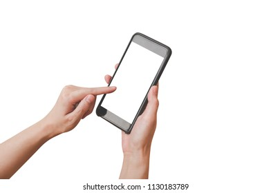 Close up hand woman holding and using phone on isolated with clipping path.