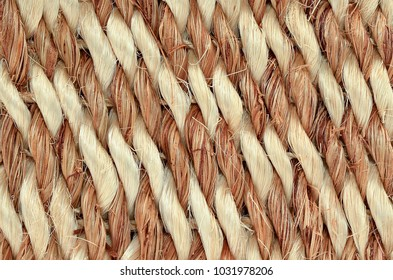 Close up of Hand Woven / Tied Rug Detail, Patterned Sisal, Hemp Background Texture.