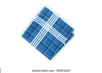 Premier Mens White//Blue//Grey Check Handkerchief