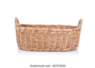 Close up handmade rattan basket isolated on white background