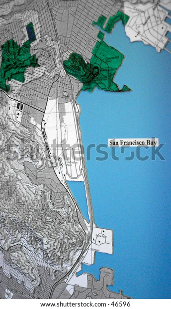 Close up of Handmade topographic map of San Francisco Bay.