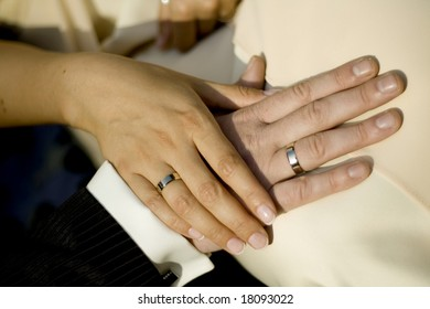 close up of the hands of bride