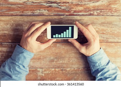 close up of hands with chart on smartphone screen